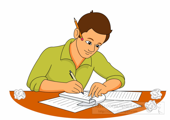 Writer with crumpled paper clipart